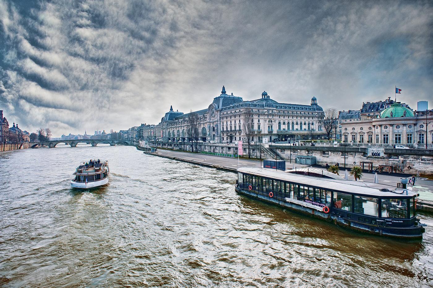 Paris, France, 2016. The Seine near the Musée D'Orsay.