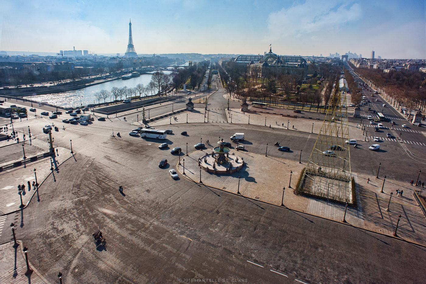 Paris, France, 2016. Looking toward the Champs-Elysées from inside La Roue de Paris.