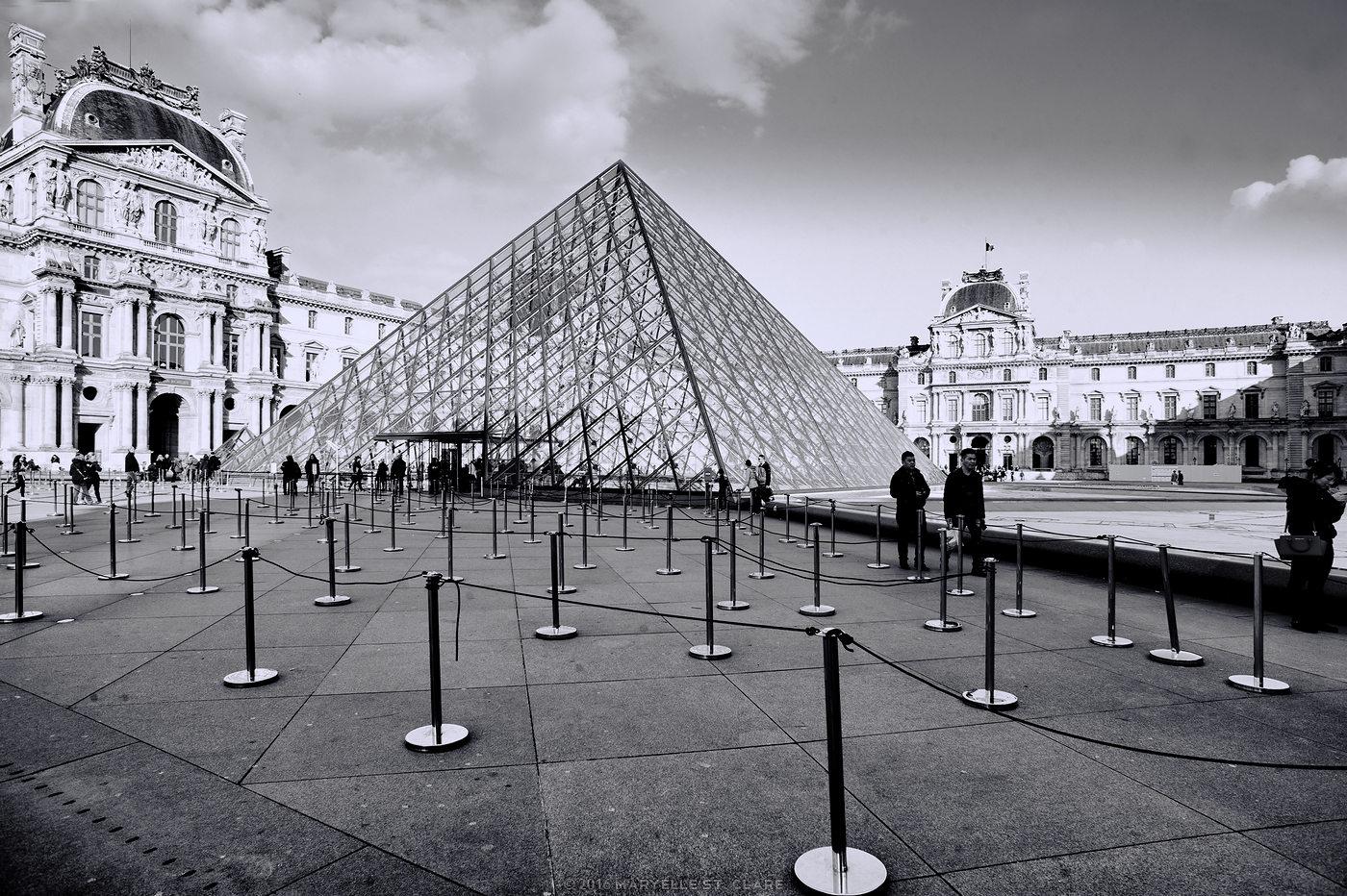 Paris, France, 2016. La Pyramide outside the Louvre.