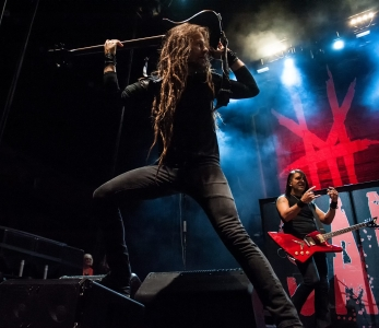 11 Oct 2014, Duluth GA: Kyle Sanders, HELLYEAH. At Gwinnett Arena, playing with Volbeat and Five Finger Death Punch.